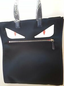 New Authentic Fendi Monster Tote Hand Bag Nylon Leather Blue White ... e80376a94314c