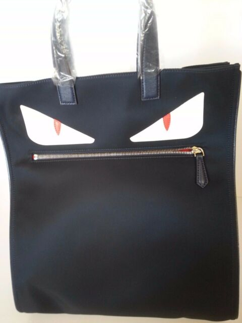 2695f226 New Authentic Fendi Monster Tote Hand Bag Nylon Leather Blue White Red