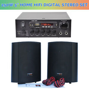 2-X-5-034-Inch-250W-HiFi-Stereo-Laud-Wall-bookshelf-Speaker-Set-Bluetooth-USB