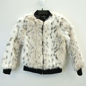 Details about Say What? Juniors Jacket Full Front Zip Faux Fur Bomber Jacket White Cream XS