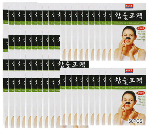 50pcs Korean Charcoal Nose Pore Cleansing Strip Blackhead Peel Off Mask