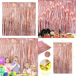 ROSE-GOLD-Foil-Fringe-Curtains-Photo-Backdrop-Party-3Ft-X-8-Ft-Shiny