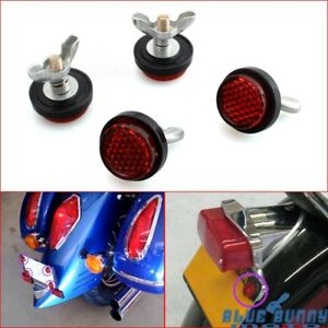 Off-Road-Motorcycle-4X-Pack-Tag-Bolt-Mini-License-Plate-Red-Reflectors-Universal