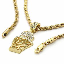 "Mens 14K Gold Plated Basket ball Pendant Hip-Hop 4mm/24"" Rope Chain zz06"