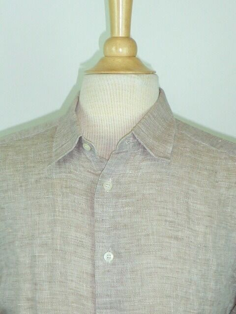 ERMENEGILDO ZEGNA SOFT BEIGE CHAMBRAY 100% COTTON BUTTON UP  SHIRT 16.5 L