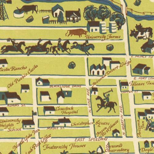 "Tucson Arizona MAP circa 1943 24/"" x 30/"" shows vintage buildings etc old Tuscon"