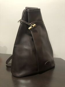 Details about Longchamp Paris Vintage Roseau Brown Leather Gold Toggle  Sling Crossbody Bag