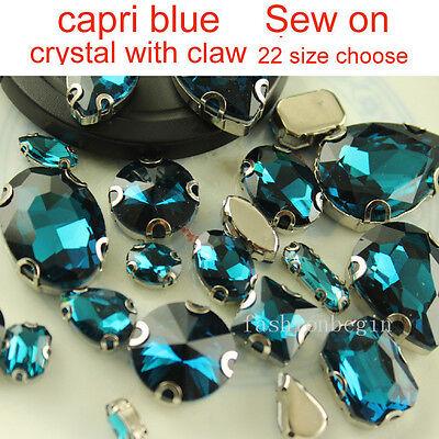 Capri blue Costume Dress Sew On Crystal Faceted flatback Rhinestone Jewels 4Hole