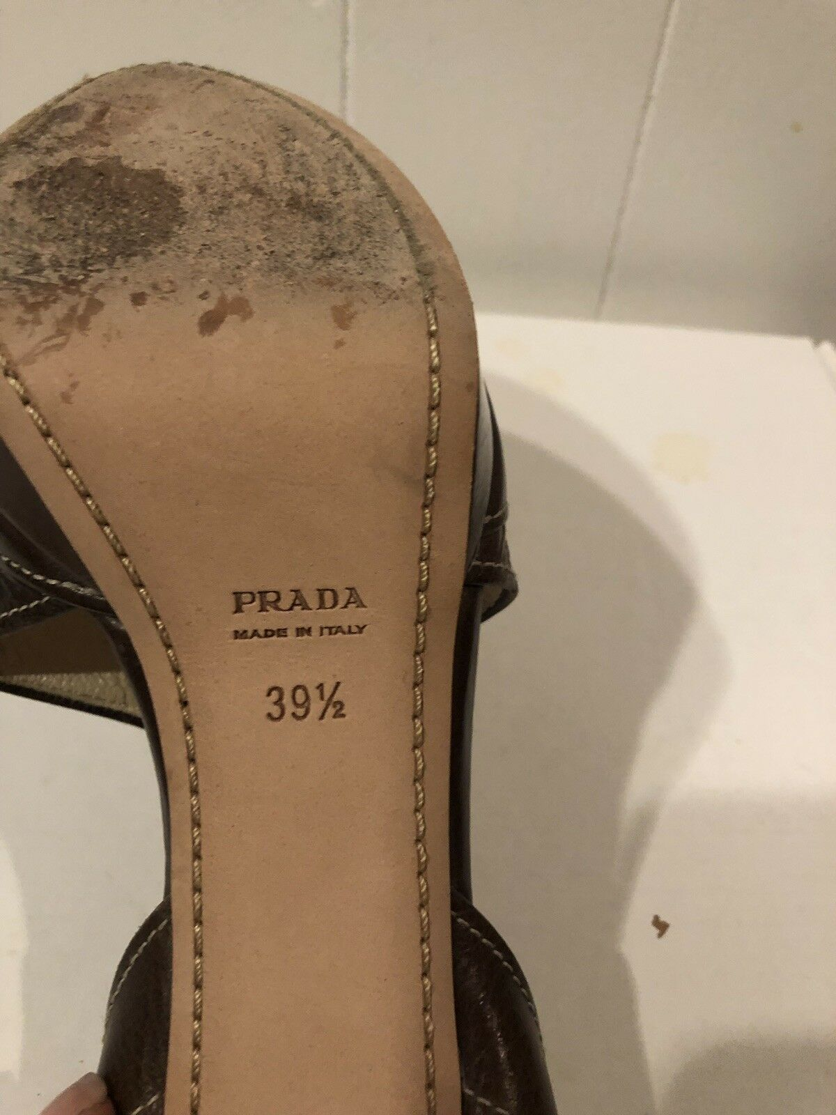 PRADA 100% AUTHETIC BROWN LEATHER STRAPPY PLATFORM HEELS PUMPS SANDALS SANDALS SANDALS W 39 1 2 05b468