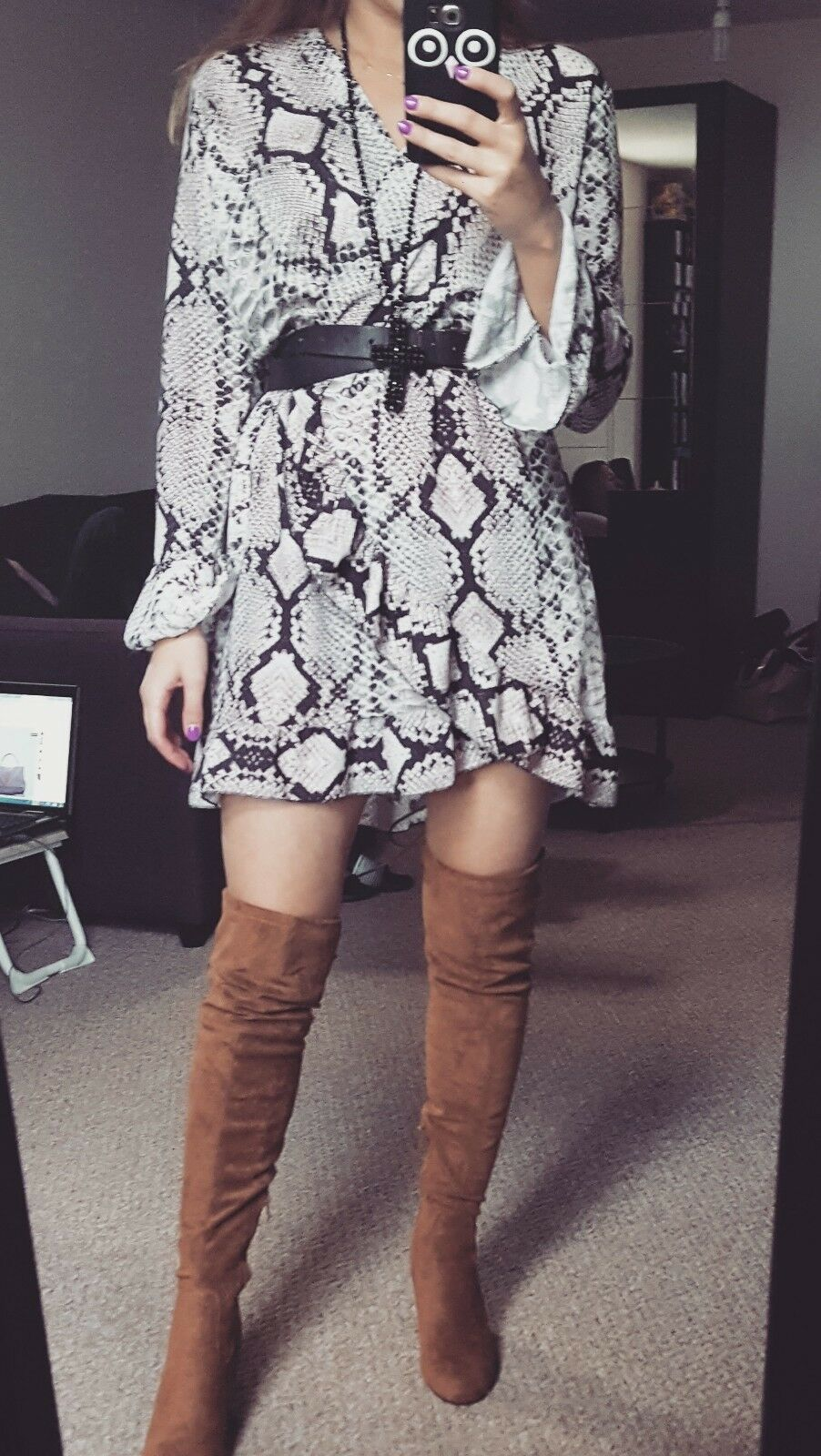AMAZING new snake print dress fits sizes S-L with tags