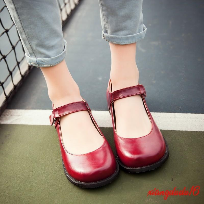 Womens Vintage Mary Jane Faux leather Round toe Flats Ankle Strap Court shoes