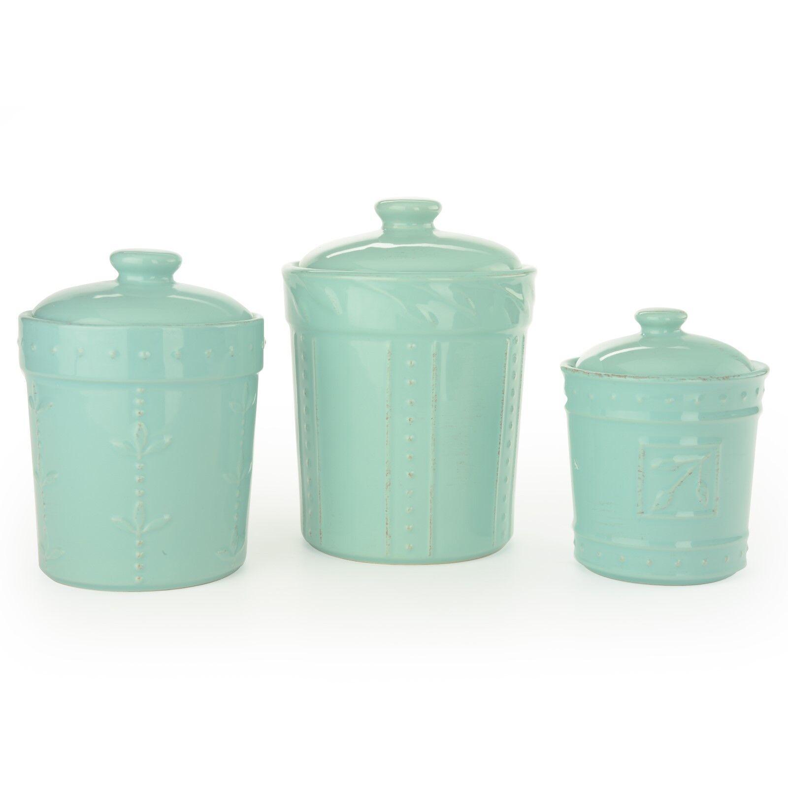 Signature maisonwares 3 pièces Sorrento Céramique Aqua Canister Set