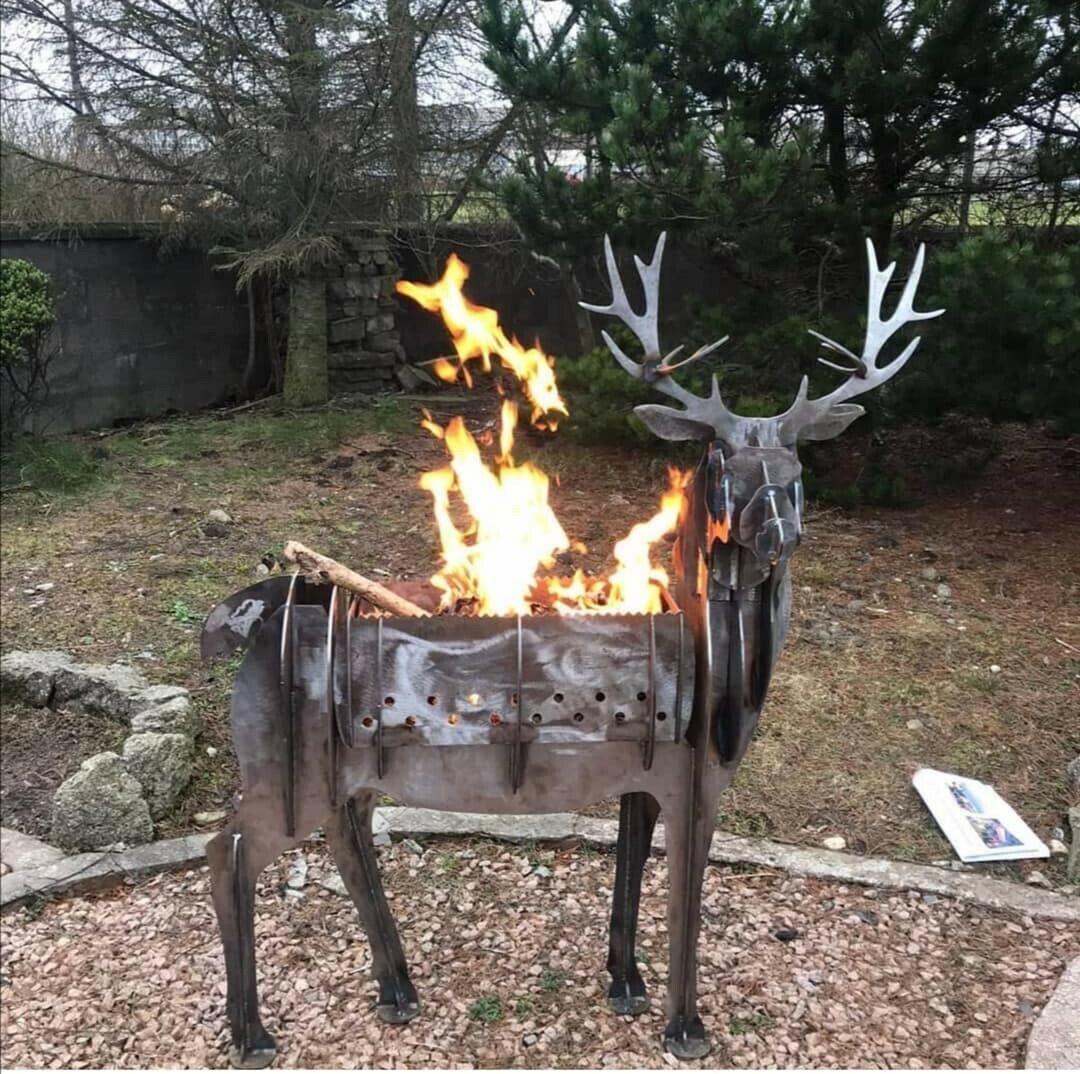 Stag / Deer Outdoor Garden Sculpture - Firepit / BBQ / Planter