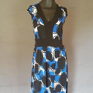 Rabbit Rabbit Rabbit Designs Maxi Dress 8 Blue Black Tie Back Dots Long Stretch
