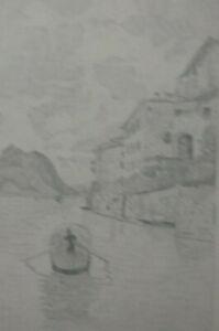 BLEISTIFT ZEICHNUNG Gandria Luganer See vor 1910 ca. 20 x 19 cm Karl Ehlers