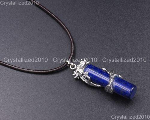 Natural Gemstones Dragon Column Reiki Chakra Healing Beads Pendant Necklaces 18k