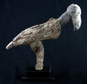 Art-Africain-African-Tres-Ancien-Oiseau-Lobi-Socle-sur-Mesure-44-5-Cms