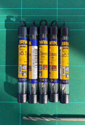 5.5mm x 90mm Irwin Joran masonry drill bit 5 Pce