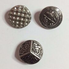 3 Vintage Silver Tone Metal Sewing Buttons - Various Designs