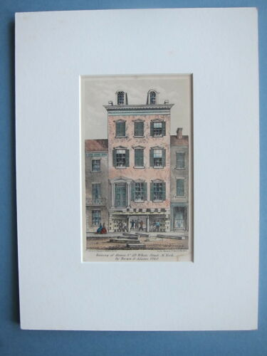 1861 Raising of House No. 39 White St. N.Y. by Brown & Adams Lith. Geo. Hayward