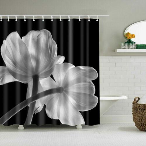 180x180cm Waterproof Fabric Bathroom Shower Curtain Sheer Panel Decor 12 Hooks