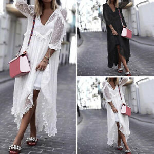 Women-Plus-Size-Loose-Casual-3-4-Sleeve-Long-Maxi-Dress-V-Neck-Baggy-Lace-Up