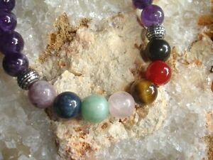 Amethyst-Bracelet-Seven-Chakra-Crystal-Healing-Energy-Balance-Gemstone-A-Quality