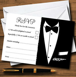 James bond personalised wedding or party rsvp cards ebay image is loading james bond personalised wedding or party rsvp cards stopboris Choice Image