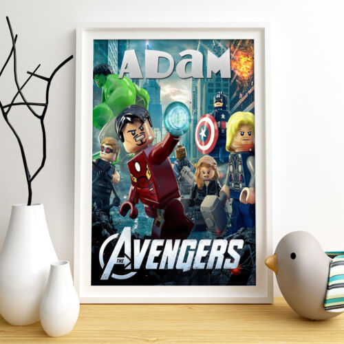 AVENGERS LEGO Personalised Poster A5 Print Wall Art Custom Name✔ Fast Delivery ✔