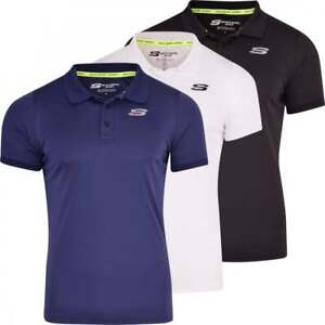 Skechers-Men-s-Sports-Polo-T-Shirt-Gym-Activewear-Casual-Short-Sleeved-Top