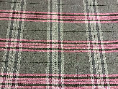 Stunning tartan check faux wool fabric in charcoal grey black and pink PM