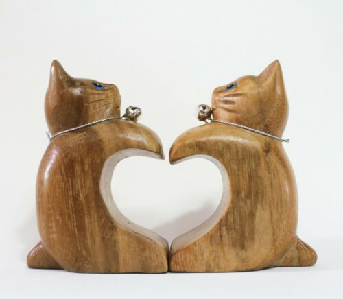 Wooden Pairs Cute Cat Kitty Heart Vintage Art Handcraft Home Decor Collectible