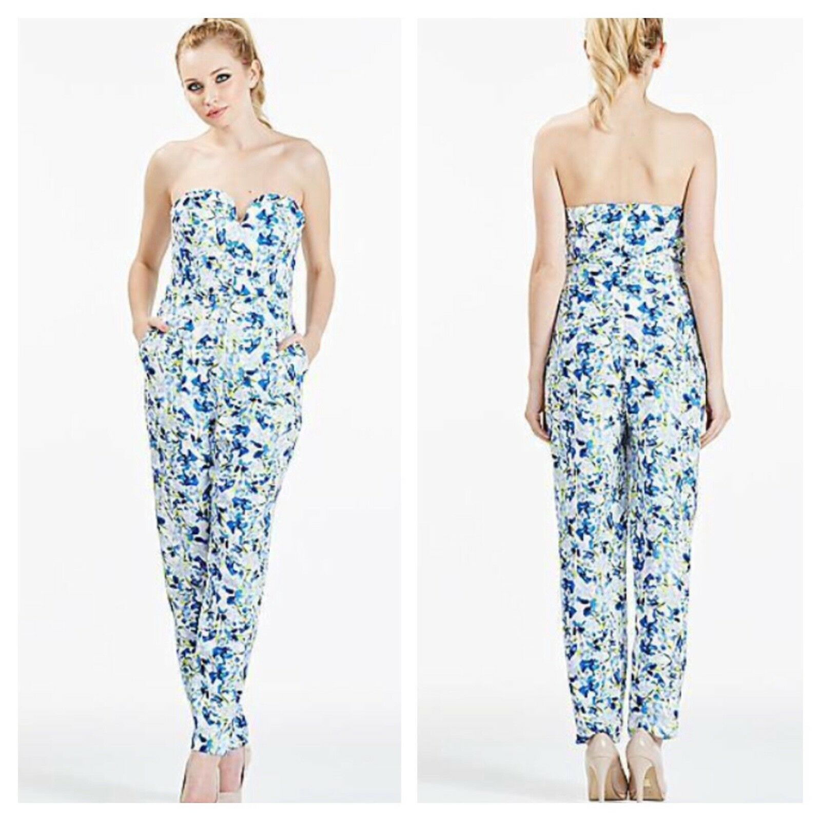 Darling Sz 16 bluee Floral Strapless JUMPSUIT Wedding Party Occasion Evening