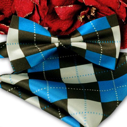 *BRAND NEW* BLUE/&BROWN ARGYLE CHECKED SILK FEEL BOW TIE/&POCKET SQUARE SET B1040