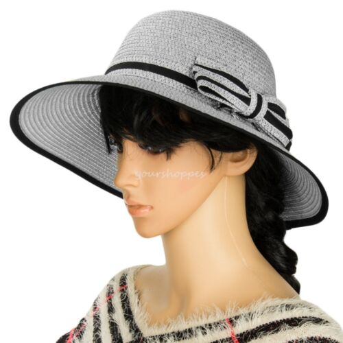 Gray Aerusi Women Ladies Summer Beach Floppy Panama Straw Hat Wide Brim Sun Cap