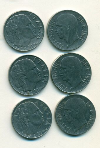 3 OLDER 20 CENTESIMI COINS from ITALY 1940, 1941 /& 1942