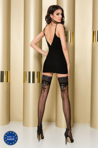 Passion ST103 Hold Ups Lace Tops Metallic thread highlighted Pattern /& Back Seam