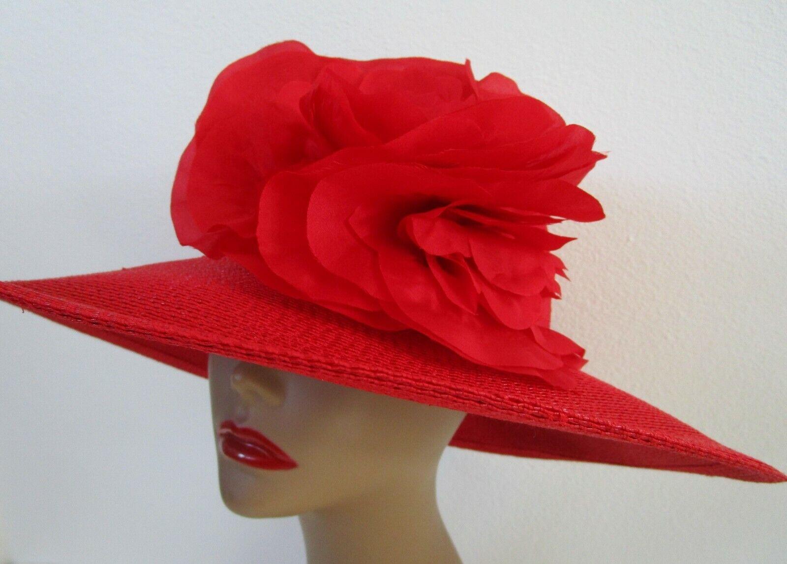 Patricia Underwood Red Wide Brim Hat Silk Flower … - image 2