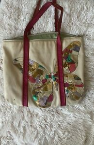 Large Authentic Canvas Coach Butterfly Bag Multicolored And Tan No.K0982-14539
