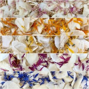 Biodegradable-PINK-BLUE-WEDDING-CONFETTI-Dried-IVORY-FLUTTER-FALL-Real-Petals