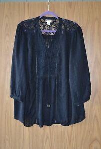 064d92fd38961 Details about Tunic Light Blouse Top Ava Viv Black Rayon Gauze Lace Plus  Size 2X
