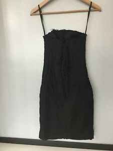 all saints womens black dress lace up corset tight fitted