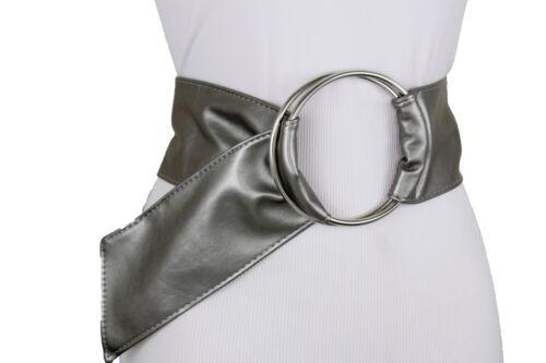 Fun Women Classy Silver Metal Ring Buckle Metallic Grey Pewter Fabric Belt S M L