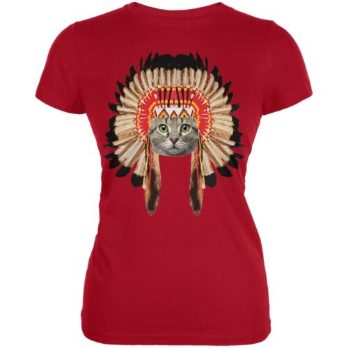 Thanksgiving Funny Cat Native American Red Juniors Soft T-Shirt