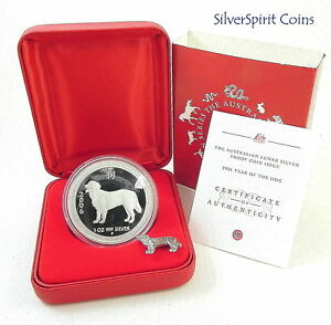 2006-YEAR-OF-THE-DOG-LUNAR-PURE-SILVER-Proof-Coin-with-Badge-Series-I