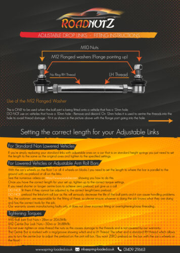 BiFu//4motion 04-On RoadNutz Front Adj Drop Links for VW Caddy III Estate 2K//2C