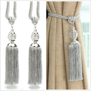 2pcs Curtain Tie Backs Rope Holdbacks Tassel Tiebacks Crystal Ball Decor Uk Ebay