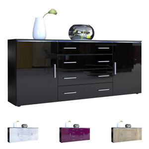 Buffet-Commode-Dressoir-Credence-Faro-V2-en-Noir-Facades-en-coloris-divers