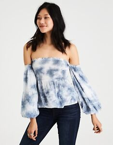 539c2cb5878 Image is loading American-Eagle-Outfitters-AE-Smocked-Off-the-Shoulder-