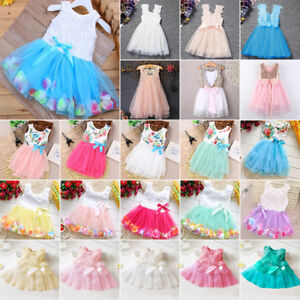 Flower-Girls-Princess-Dress-Kids-Baby-Party-Pageant-Formal-Lace-Tulle-Tutu-Dress